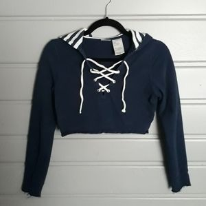 Navy Blue Sweater Cropped Top